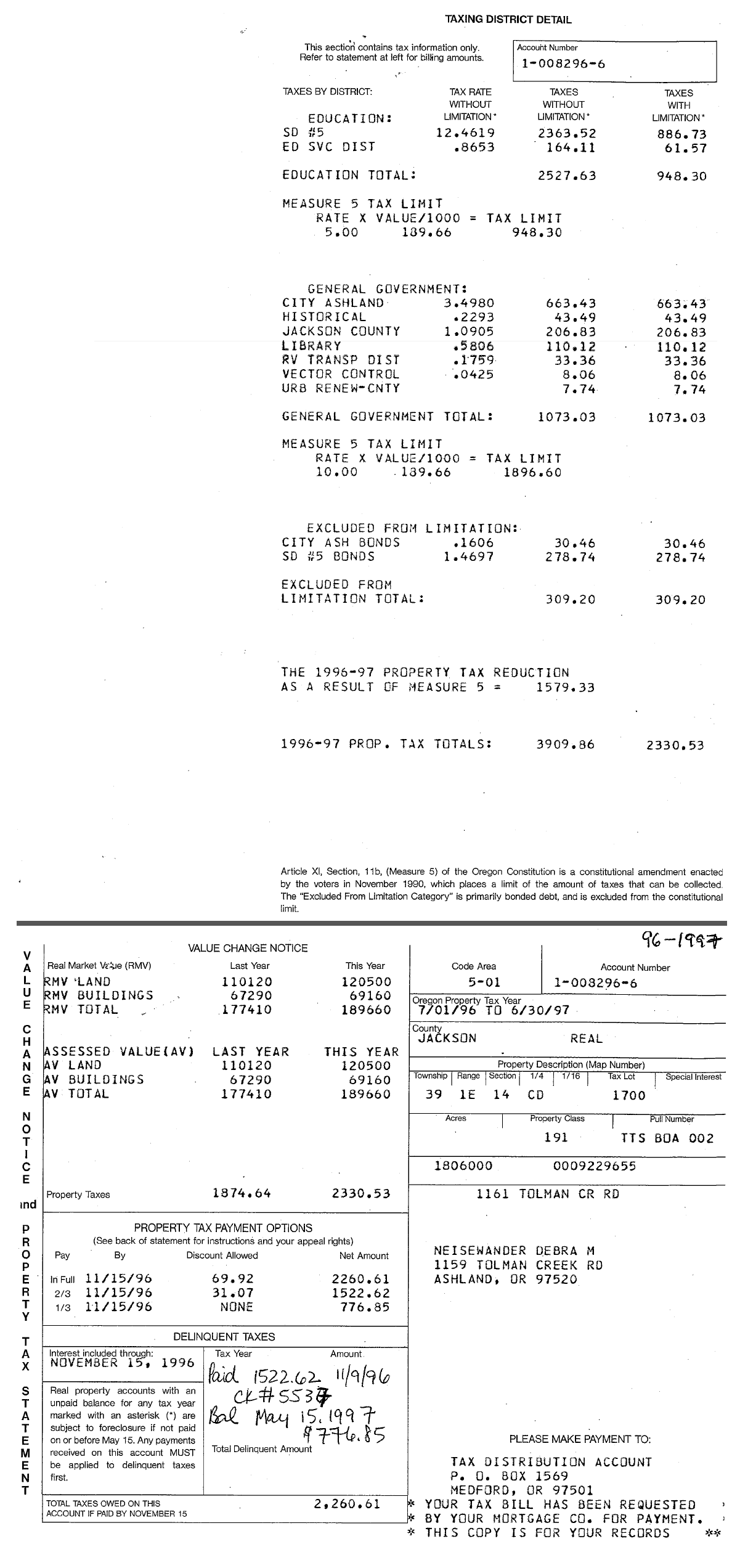 1996-97 Property Tax Statement